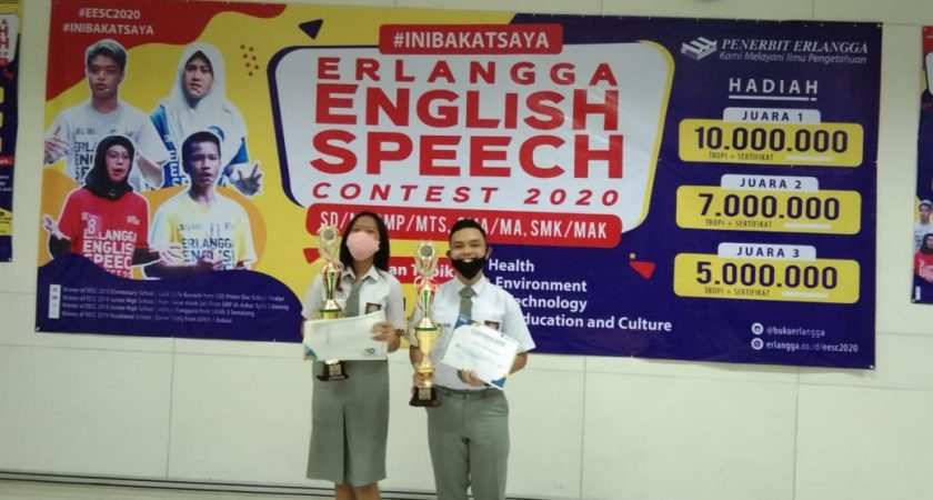 Erlangga English Speech Contest (EESC), Siswa SMK Grafika Bina Media Meraih Juara 2 dan 3